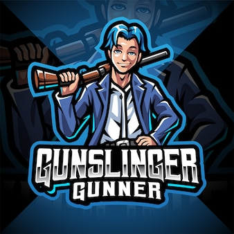 Gunslinger esport mascotte logo ontwerp