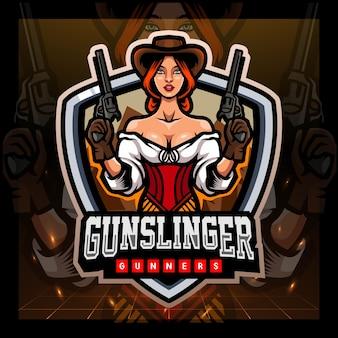 Gunslinger mascotte esport logo ontwerp