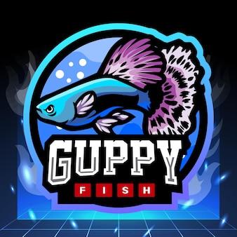 Guppy vis mascotte esport logo ontwerp