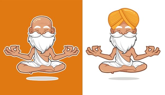 Guru yoga mascotte cartoon