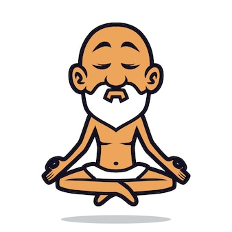 Guru yoga mascotte ontwerp
