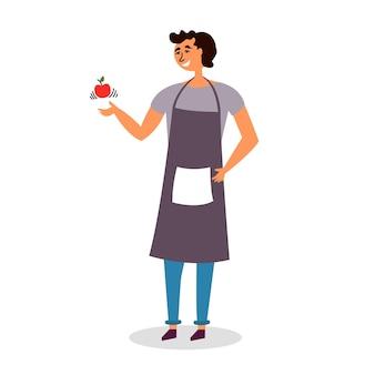 Guy kok schort gooit appel voorbereiding bereiding fruit dessert snack
