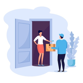 Guy levert pakket aan huisdeur. snelle bezorgservice. vrouw ontvangt een kartonnen doos van de koerier. express verzending. vectoor cartoon ontwerp