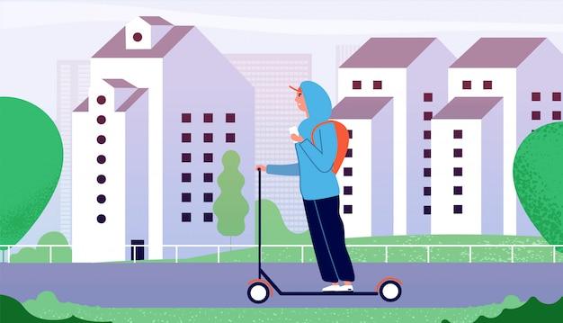 Guy rijden kick scooter. gelukkig lachende man rijden langs straat met gebouwen in de stad. elektrisch persoonlijk vervoer vector concept