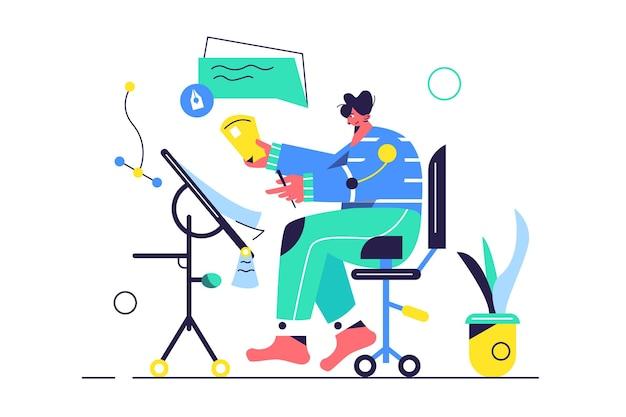 Guy werkt aan een project aan een tafel zittend op een stoel geïsoleerd op een witte achtergrond,