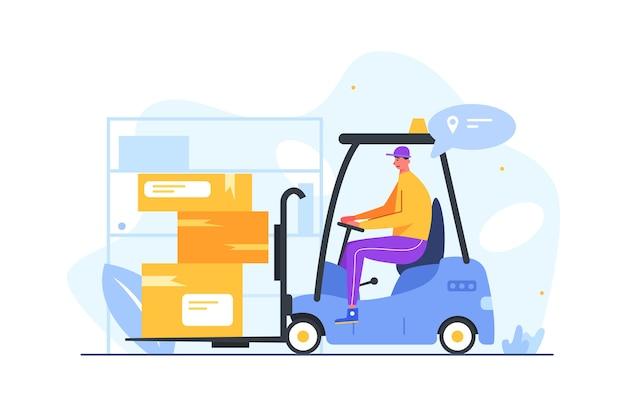 Guy werkt in een magazijn en vervoert lading in dozen op een elektrische heftruck geïsoleerd op een witte achtergrond, plat