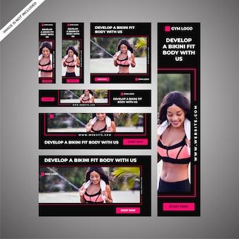 Gym ad campaign voor sociale media en digitale marketing