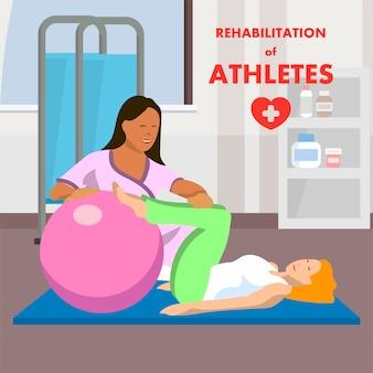 Gym arts werken met gehandicapte vrouwelijke patiënt