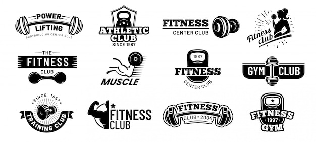 Gym badges. bodybuilding stencil label, fitness monochroom silhouet badge en atleet spieren vector illustratie set