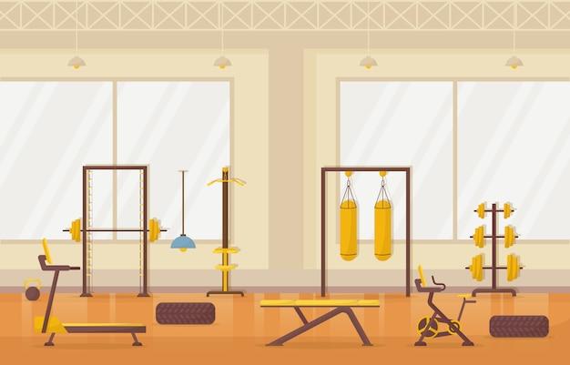 Gym center interieur sport club fitness gewicht bodybuilding apparatuur illustratie