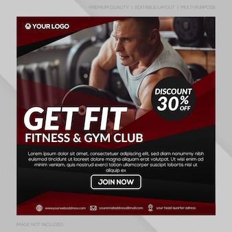 Gym club instagram postsjabloon