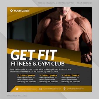 Gym club sociale media post sjabloon