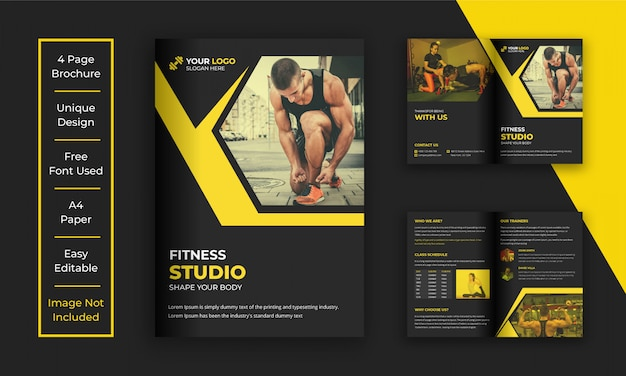 Gym en fitness bi-voudige brochure sjabloon