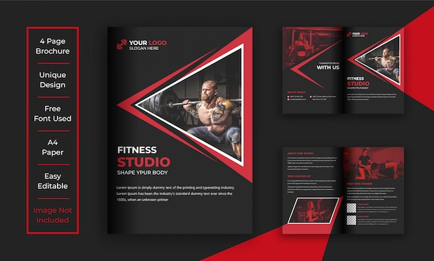 Gym en fitness brochure sjabloon