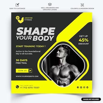 Gym en fitness instagram post webbanner sjabloon vector premium vector