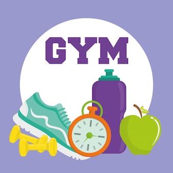 Gym en fitness pictogrammen ontwerp