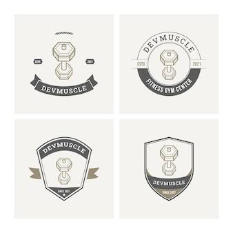 Gym fitness logo badge collectie