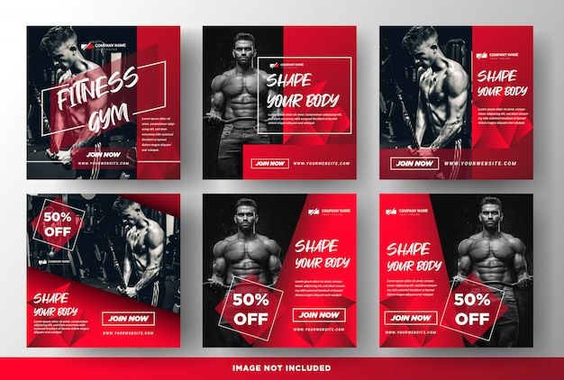Gym fitness promotie media social post templates