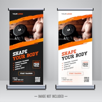 Gym fitness rollup sjabloon voor spandoek
