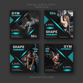 Gym fitness social media post ontwerpsjabloon