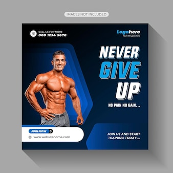 Gym fitness social media post-sjabloon
