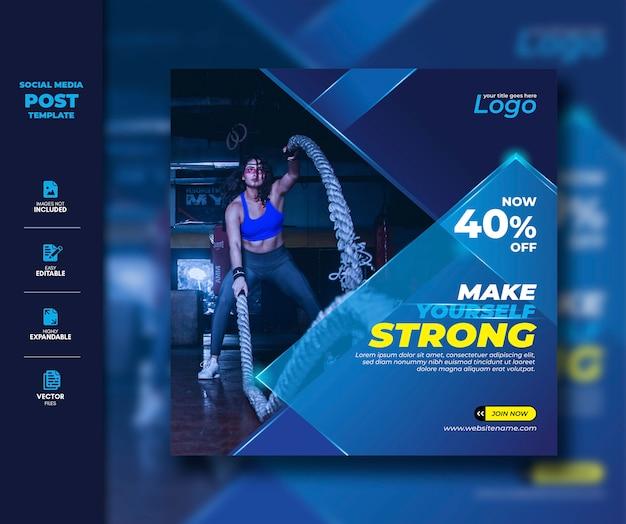 Gym fitness social media post square-sjabloon voor spandoek