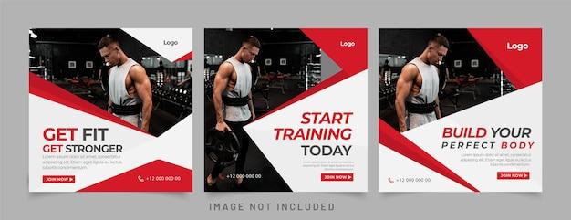 Gym fitness social media postsjabloon