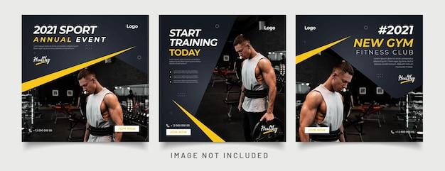 Gym fitness sociale media post-sjabloon