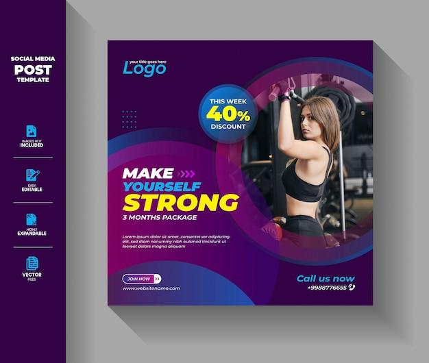 Gym fitness workout social media post instagram-bannermalplaatje