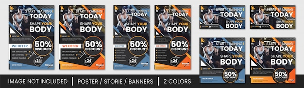 Gym flyer en banner set