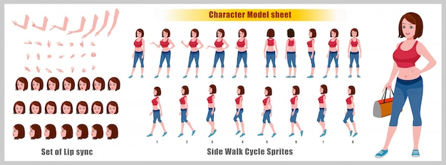 Gym girl character-modelblad met loopcyclusanimaties en lipsynchronisatie