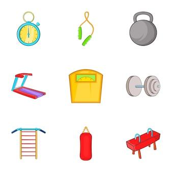 Gym iconen set, cartoon stijl