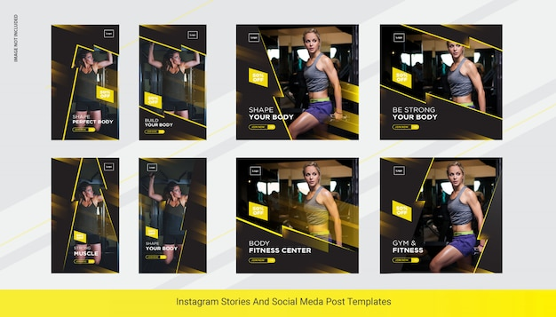Gym instapost verhalen banner, sociale media post sjabloon