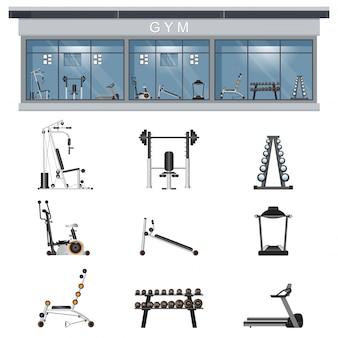 Gym interieur icon set met fitness gym apparatuur op achtergrond.