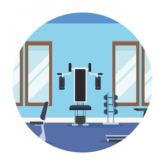 Gym landschap ronde pictogram