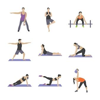 Gym oefeningen plat pictogrammen