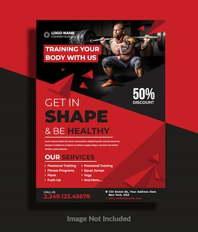 Gym of workout flyer-sjabloon