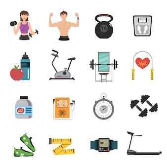 Gym pictogram vlakke set