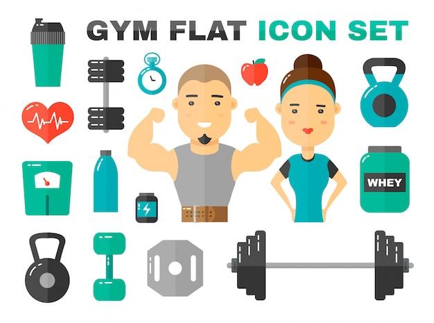 Gym plat pictogrammen instellen. mannelijke en vrouwelijke sport fitness coache karakter