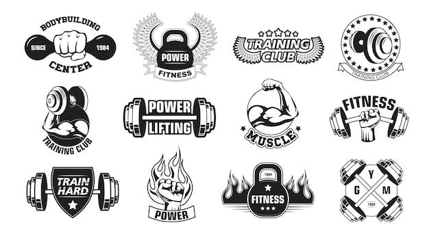 Gym retro logo's set