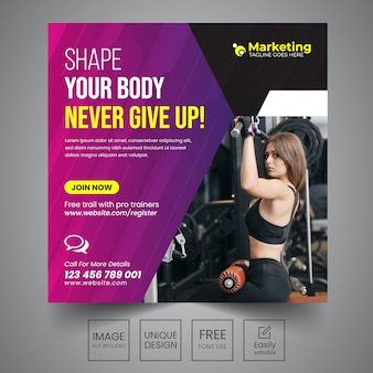 Gym sociale banner ontwerpsjabloon