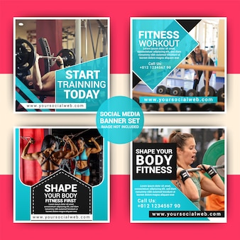 Gym sociale media marketing post sjabloon