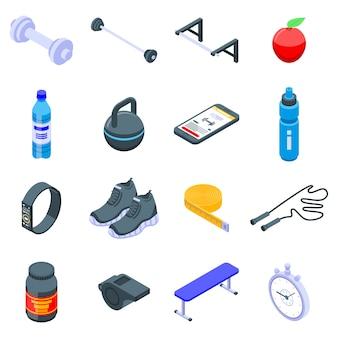 Gym tijd iconen set
