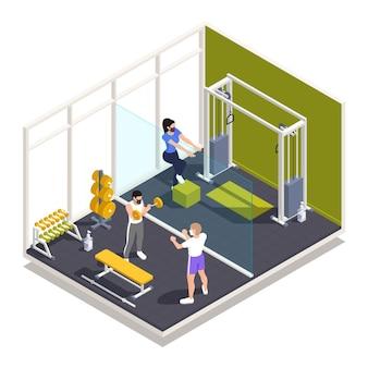 Gym training centrum pandemische voorzorgsmaatregelen regels isometrische samenstelling met krachttraining in gezichtsmaskers met behulp van ontsmettingsmiddel illustratie