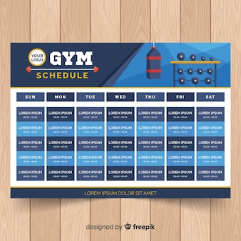 Gym training schema sjabloon