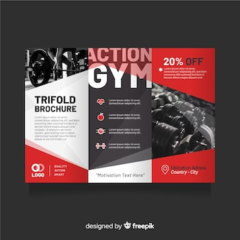 Gym trifold flyer sjabloon