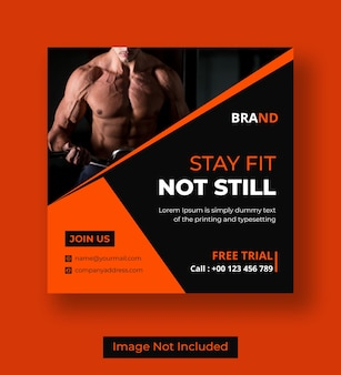 Gym vierkante flyer of sociale media instagram postsjabloon