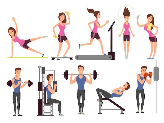 Gymnastiek oefeningen, body pump workout vector set met cartoon sport man en vrouw tekens. fitness mensen