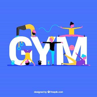 Gymnastiekachtergrond met kleurrijke mensen