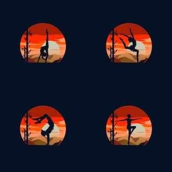 Gymnastiekactiviteiten voor logo of pictogramgezondheid